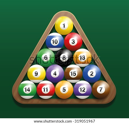 Pool billiard balls in a wooden rack - commonly used starting position. Three-dimensional isolated vector illustration on green gradient background. - stock vector
