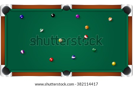Pool Billiard Table Top View  - stock vector