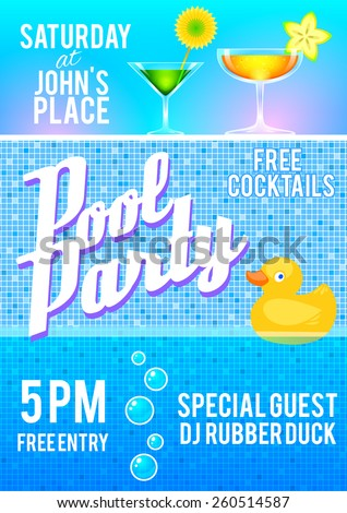 Pool party flyer template featuring cocktails, pool tile, bubbles and a rubber duck. Vector illustrattion. - stock vector