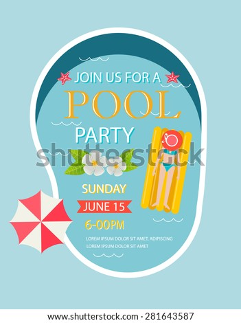 Pool party invitation  with top view of pool, vector illustration. - stock vector