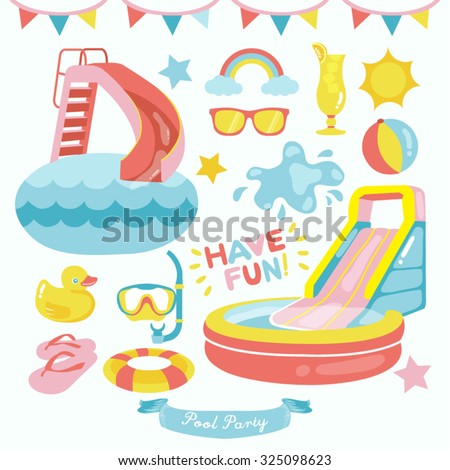 Pool Party Vector Design Illustration - stock vector