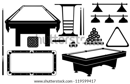 pool set isolated on white - stock vector
