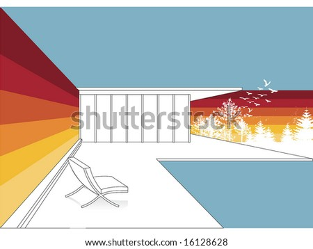pool space - stock vector