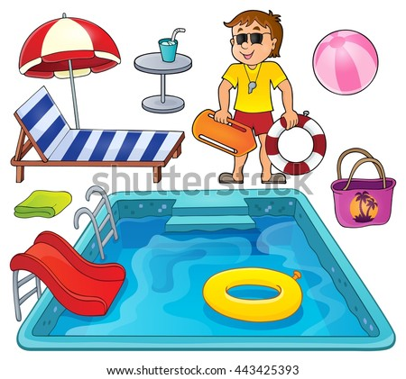 Pool thematic set 1 - eps10 vector illustration. - stock vector