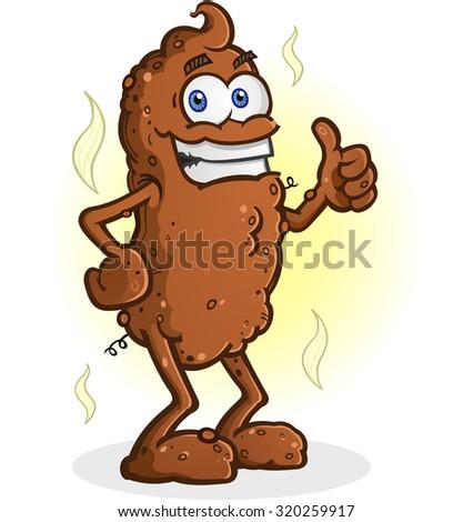 Poop Cartoon Character Standing Thumbs Up - stock vector