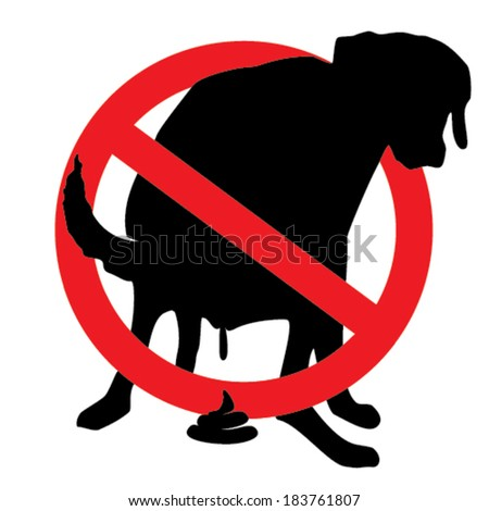 Pooping dog prohibition sign - stock vector