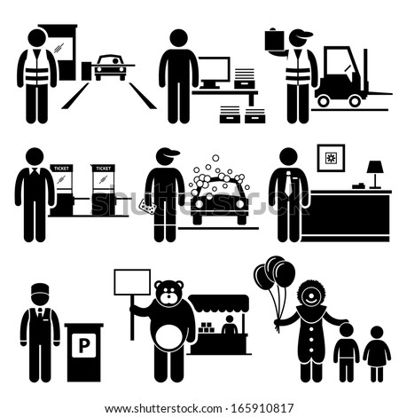 Poor Low Class Jobs Occupations Careers - Toll Booth Collector, Data Entry, Warehouse Worker, Ticket Attendant, Car Wash, Lobby Counter, Valet Parking, Mascot, Clown - Stick Figure Pictogram - stock vector