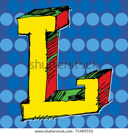 pop-art alphabet, hand drawn letter L - stock vector