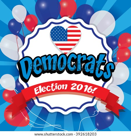 Pop Art American Democrats Vector Illustration with USA flag. Election 2016. Vote for America. - stock vector