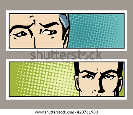 Pop art banner with male eyes and blank space for text. Cartoon man eyes. Vintage advertising poster. Comic hand drawn vector illustration. - stock vector