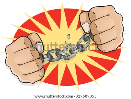 Pop Art Chained Fists. Great illustration of pop Art comic book style fists breaking free from the shackles of imprisonment in an act of defiance and redemption. - stock vector