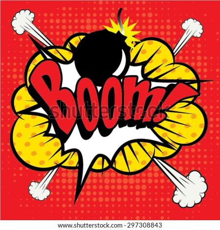 "Pop Art comics icon ""Boom!"". Speech Bubble Vector illustration. - stock vector"