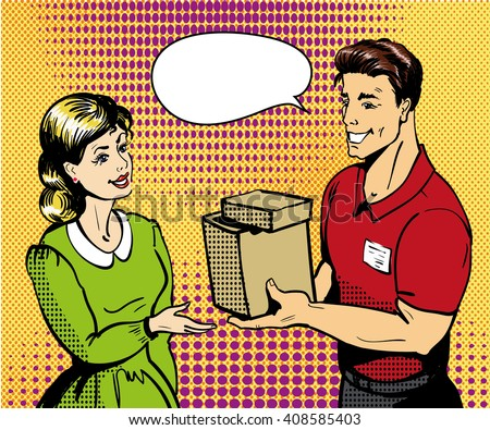 Pop art delivery concept vector illustration. Delivery man handing box to woman. - stock vector