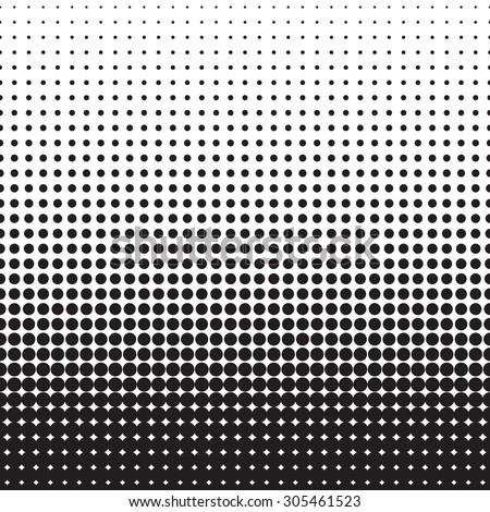 Pop art endless background. Halftone black dots on white background. - stock vector