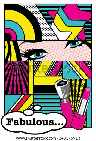 Pop art Fabulous Card Vector Illustration - stock vector