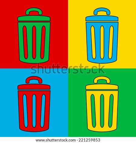 Pop art garbage symbol. Vector illustration. - stock vector