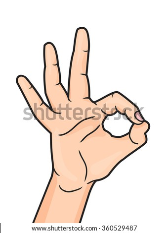 Pop art OK hand sign isolated on white background. Woman hand showing okay hand gesture. Vector illustration. - stock vector