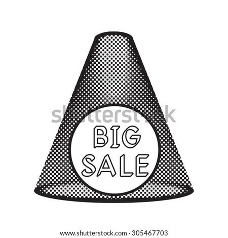 Pop art projector, spotlight shines, halftone effect, black and white colors. Big sale label. - stock vector