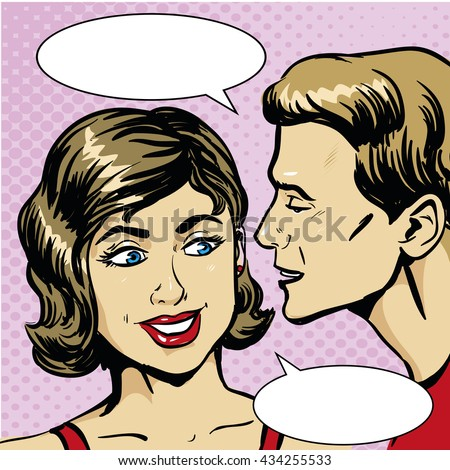 Pop art retro comic vector illustration. Man whispering gossip or secret to woman. Speech bubble. - stock vector