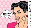 pop art retro woman in comics style, vector illustratation - stock vector