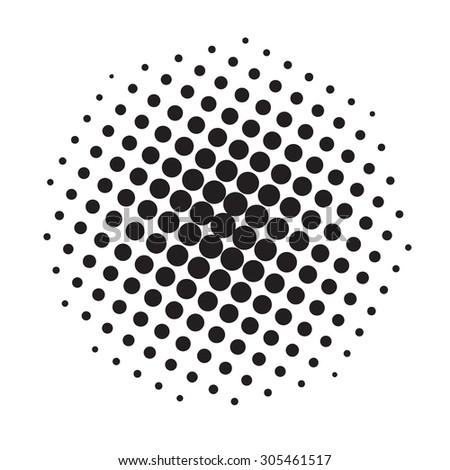 Pop art round elements. Halftone black dots on white background. - stock vector