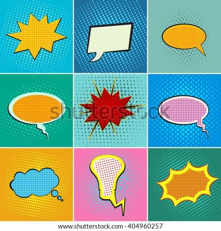 Pop art speech bubbles, comic book speech bubbles set, colorful speech bubbles on a dots pattern backgrounds in pop-art style, blank comic book speech bubbles in pop-art retro style, vector - stock vector