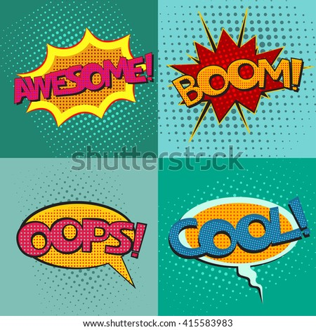 Pop art speech bubbles set with phrases Awesome Boom Oops Cool, vector - stock vector