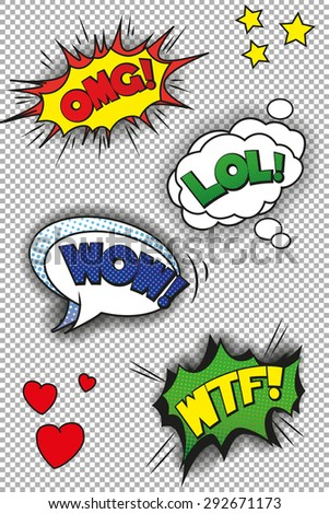 Pop art speech bubbles with LOL, OMG, WOW and WTF. EPS10 vector format - stock vector