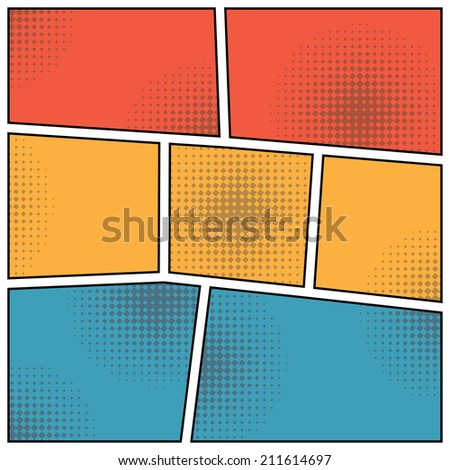pop art style colored blank background. vector - stock vector