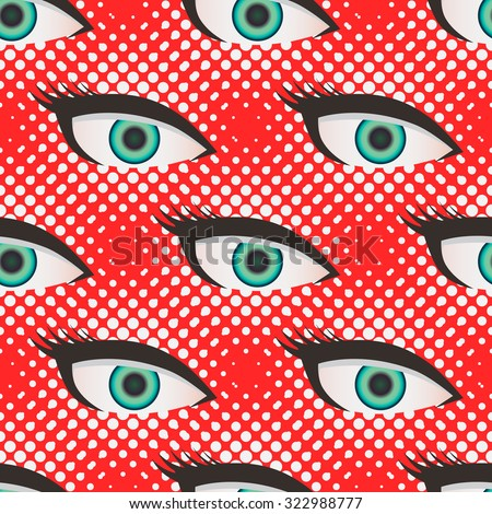 Pop art style halftone close up eyes pattern. Dotted red and white background. - stock vector