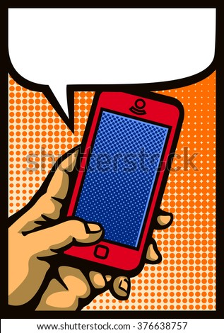 Pop art style hand holding smartphone, comic book mobile phone vector illustration - stock vector