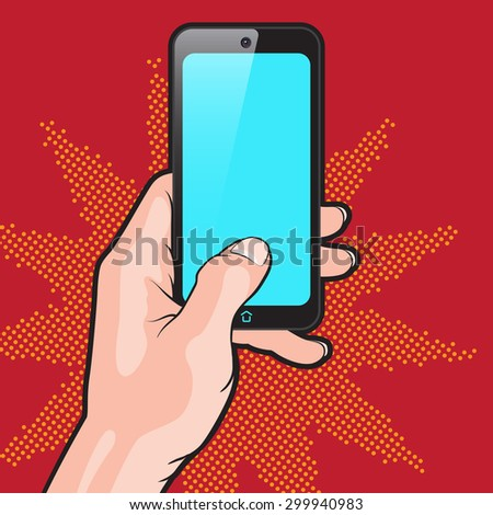 Pop Art Style Mockup with Smartphone in Hand - stock vector