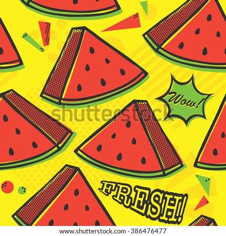 Pop art style watermelon seamless vector pattern on yellow - stock vector