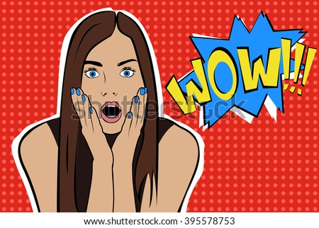 Pop art surprised brunette woman face with open mouth. Comic woman with speech bubble. Vector illustration. - stock vector