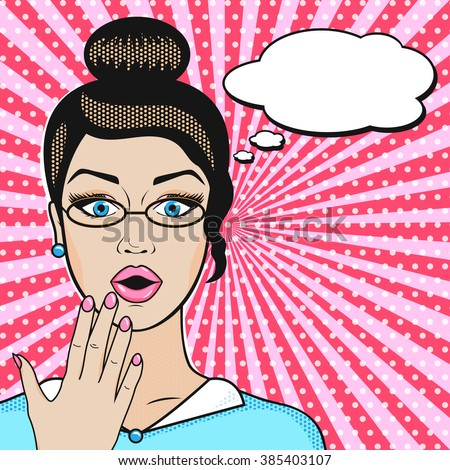 Pop art surprised business woman face with open mouth in glasses with speech bubble for message in retro comic style - stock vector
