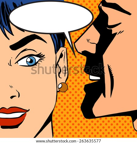 Pop art vintage comic. The man whispers to the girl. Cloud for the text. Gossip and rumors talk about love. Retro style - stock vector