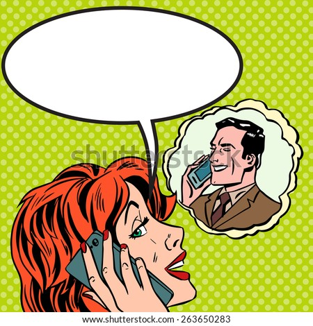 Pop art vintage comic. The woman speaks to the man on the phone. Retro style. Bubble for text. Technology and relationships - stock vector