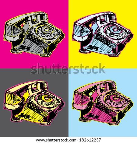 pop art vintage telephone - stock vector