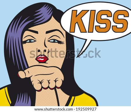pop art woman Illustration blowing a kiss (beauty woman giving kiss, pop art illustration of a girl blowing a kiss) - stock vector
