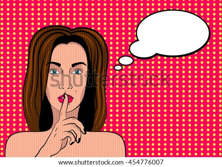 Pop Art Woman with with bubble sign. Quiet vector illustration. - stock vector