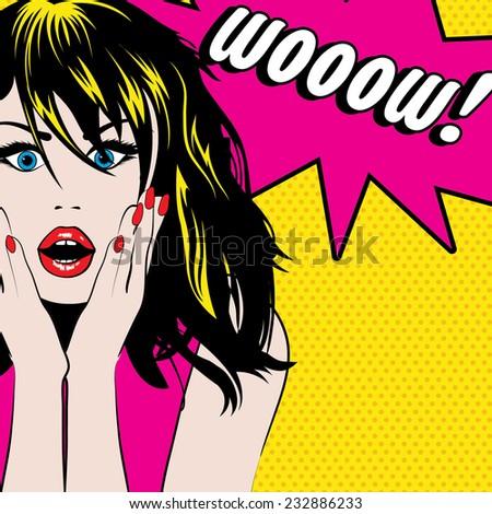 Pop Art Woman WOW sign. vector illustration - stock vector