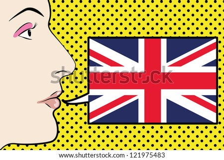 Pop Art Womans Face with the flag of the United Kingdom in a speech bubble - stock vector