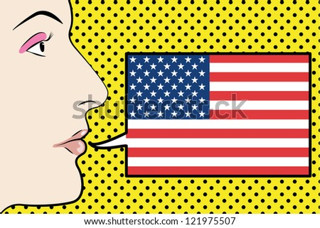 Pop Art Womans Face with the flag of the Unites States of America in a speech bubble - stock vector