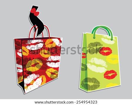 pop arts bags design - stock vector