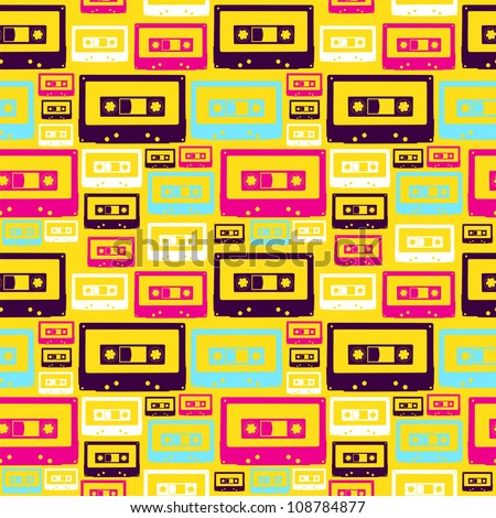 Pop audio cassette seamless pattern. Vector file layered for easy manipulation and custom coloring. - stock vector