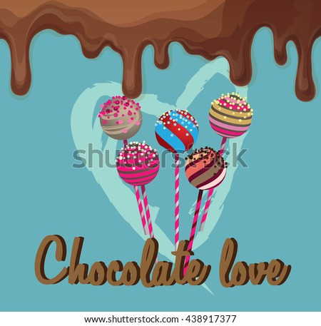Pop cakes with heart and chocolate - stock vector