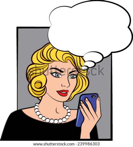 Pop comic style woman with phone - stock vector