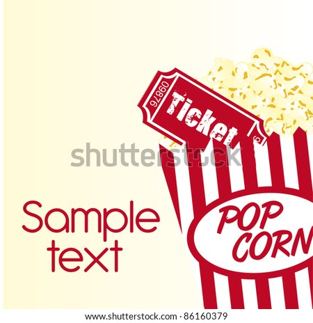 pop corn and ticket with sample text background. vector - stock vector