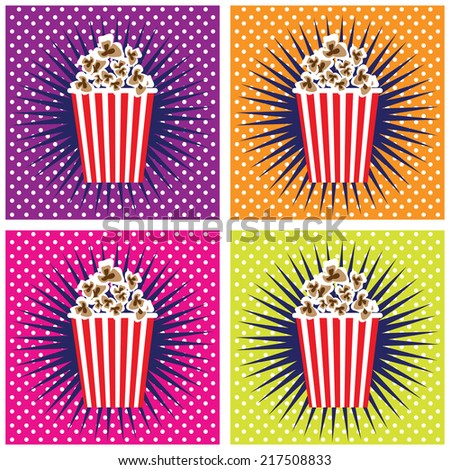 Pop corn cinema pop art set backgrounds  - stock vector