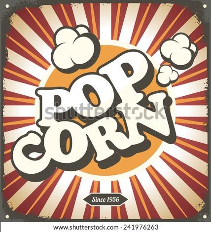 Pop corn retro design tin sign. Popcorn vintage poster concept. - stock vector